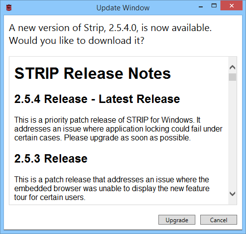 STRIP for Windows 2.5.4 Update Notification