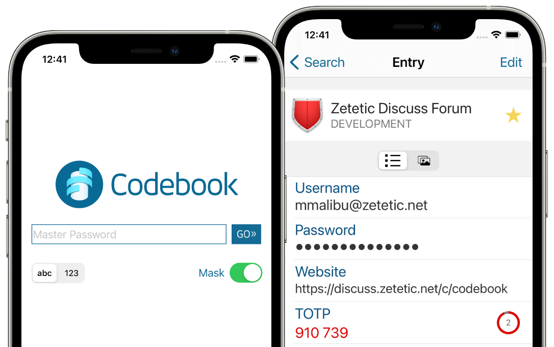 Entry and login view shown in iPhone devices
