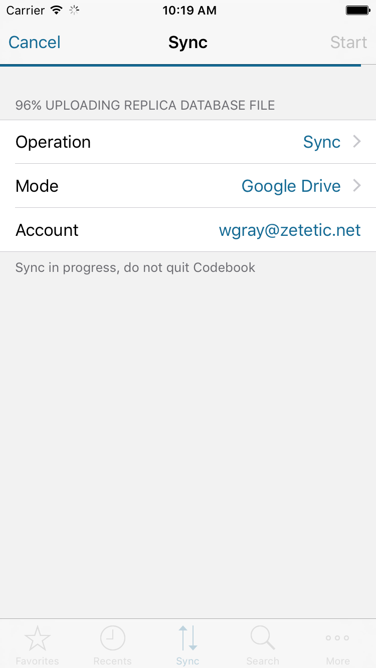 Codebook for iPhone with sync in progress