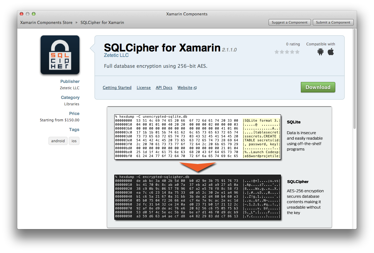 SQLCipher in the Component Store